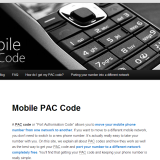 Mobile PAC Code